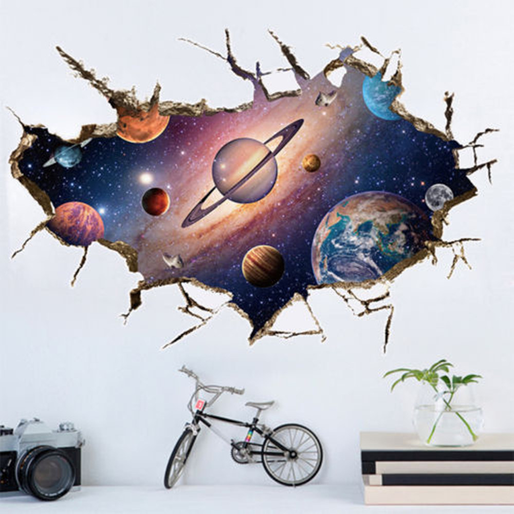 Earth Space Moon Planet Wall Sticker Decoration Kids Boys Room Bedroom Home Smashed Wall Decal 3D Art Stickers DIY Mural Poster