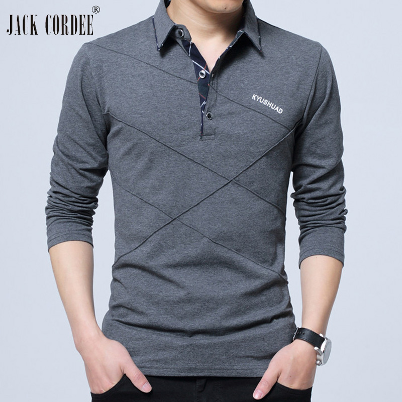 JACK CORDEE 2018 Polo Shirt Men Cotton Long Sleeve Polo Shirts Casual Male Shirts Camisa Polos Plus Size Male Solid Polo Shirts