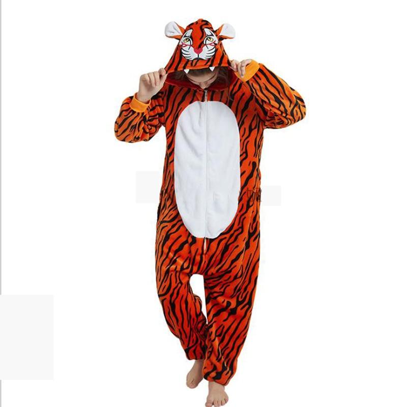 Animals New Tiger Kigurumi Unicorn Costume Adult Girl Onesies Flannel Animal Women Anime Jumpsuit Disguise Onepiece Suit