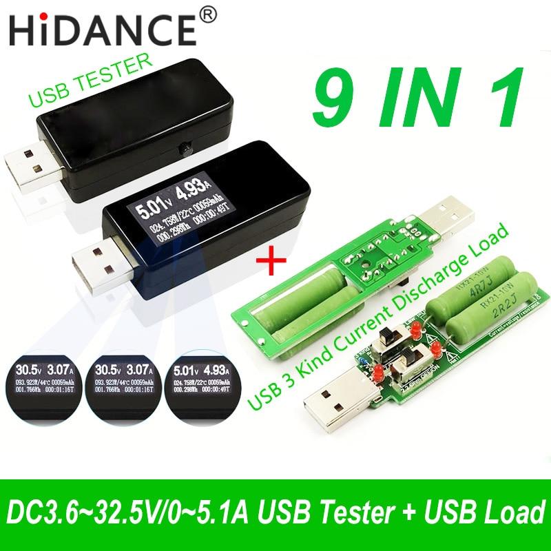 9 em 1 QC2.0 3.0 MTK-PE 3.6 ~ 32 v USB tester DC voltímetro medidor de corrente de tensão Digital amp voltímetro amperímetro detector de carga