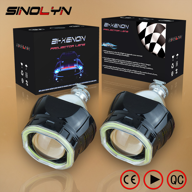 Sinolyn Mini 2.5'' COB LED Angel Eyes Halo DRL HID Car Projector Lens Headlight Bi-xenon Retrofit Black Kit H1 H4 H7 Devil Eye royalin car styling hid h1 bi xenon headlight projector lens 3 0 inch full metal w 360 devil eyes red blue for h4 h7 auto light