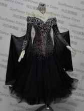 new standard dance dress,ballroom dance competition dresses,Chiffon Dress,womens  dance dresses,modern dance skirts, black color