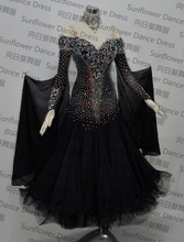 standard dance dress,ballroom dance competition dresses,Chiffon Dress,womens  dance dresses,modern dance skirts,blck color