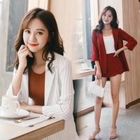 Fashion Striped Suit For Women Elegant Office Lady Seventh Length Sleeves Short Pant Jacket Two Pcs Set Suits Femme