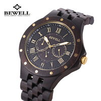 BEWELL Mens Wooden Quartz Watches Male Business Wristwatch With Three Working Sub Dials Waterproof Fashion Relojes