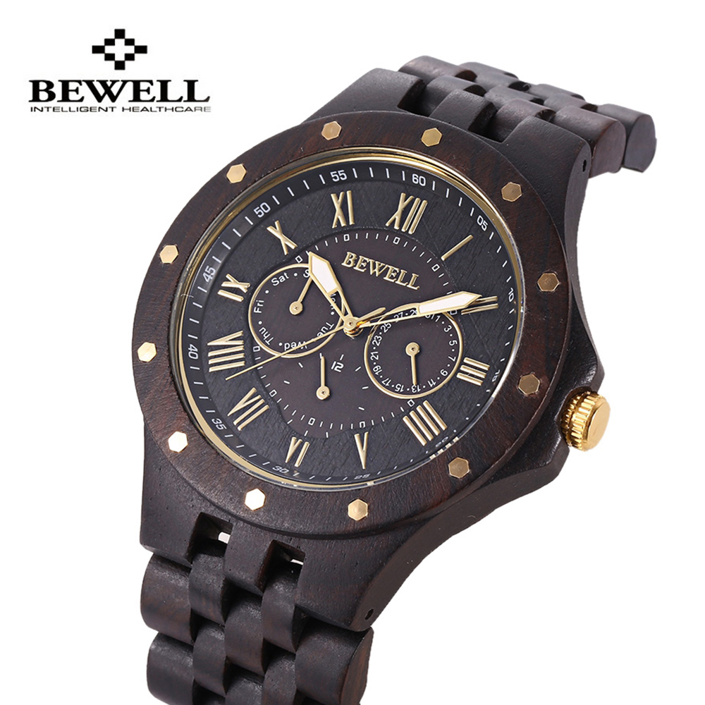 BEWELL Mens Watches Male Business Wood Watch Dress Quartz Watch Waterproof Date Fashion Wristwatch Relojes Masculino Hombre minifocus mens watch sport waterproof wristwatch genuine leather relojes hombre 2017 quartz male business watch
