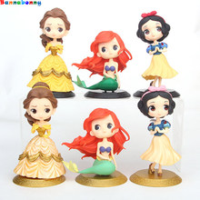 Hot 8 Styles Q Posket Figures Princess Tinkerbell Fairy Beauty Snow White Mermaid Princess Bale Model Toys(China)