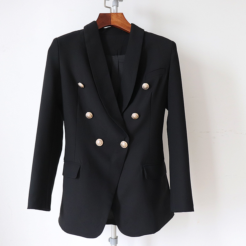 Long Blazer Woman Spring Autumn 2019 New Jacket Ladies Blazer Head Metal Button Double Breasted Casual Long Sleeve Blazer Women