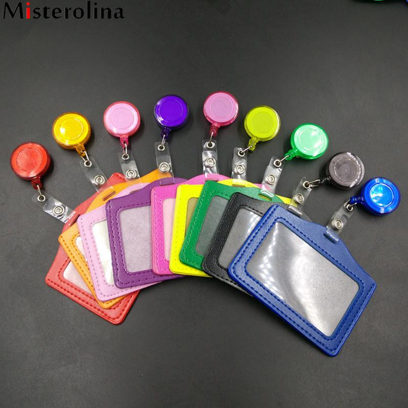 Bank Credit Card Holders Men&Women PU Card Casual Bus ID Holders Identity Badge with Retractable Reel Misterolina CX0023 fhadst no zipper cheap bank credit card holders bus id holders identity red yellow blue badge with retractable reel wholesale