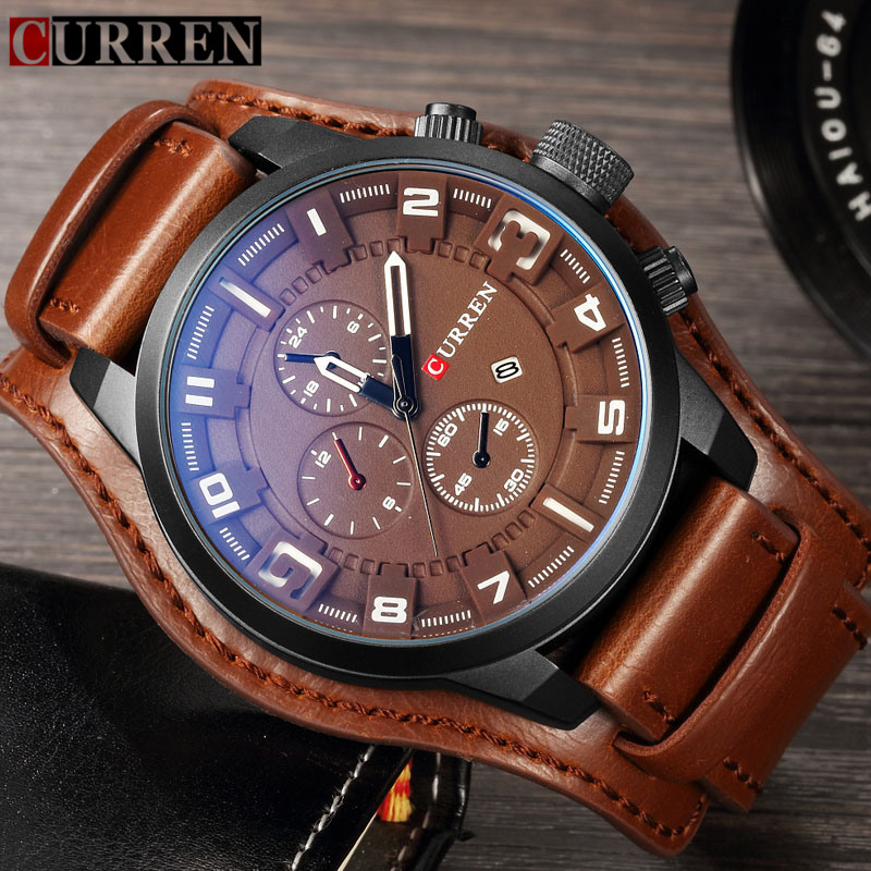 Mens Watches Curren 8225 Luxury Brand Military Quartz Watch Waterproof Leather Brown Wristwatch Casual Male Sport