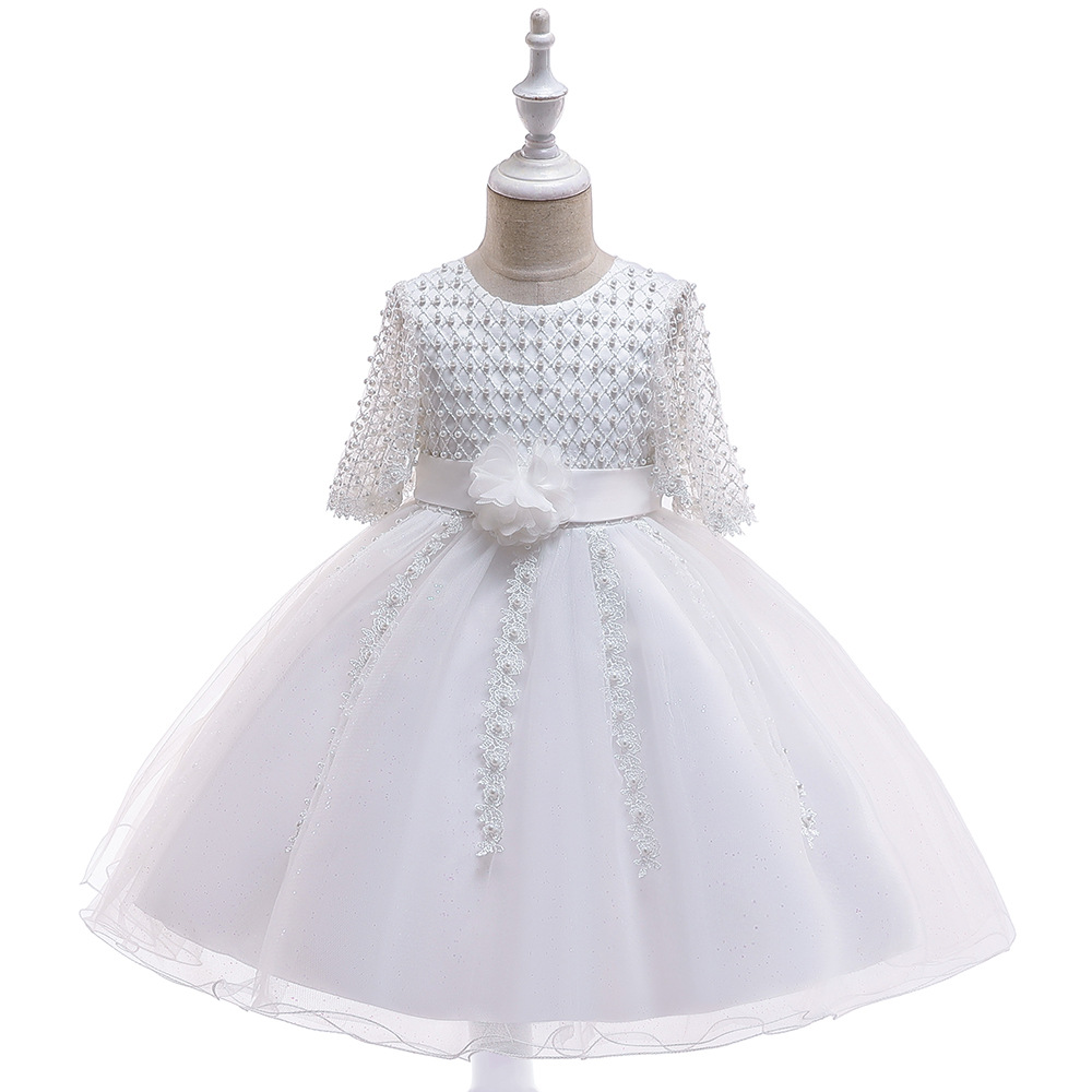 Hot Ballgown Half Sleeves Lace White   Flower     Girl     Dresses   for Wedding Tulle Kids Tutu Birthday Party   Dresses   with Pearls