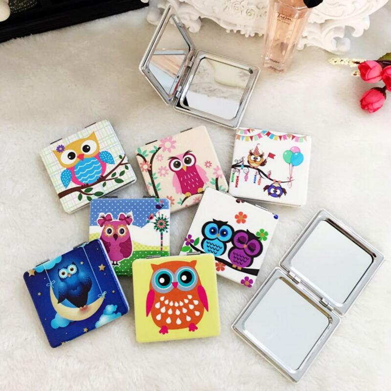 PU+ metal Customizable Square Fashion Cartoon owl maquillaje espejo Portable pocket mirror two-sides foldable makeup mirror