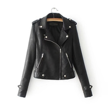 купить Autumn Winter Coat Women Polyurethane Leather Jacket Cool Sexy Slim Streetwear Lapel Zipper Motorcycle Short Coat дешево