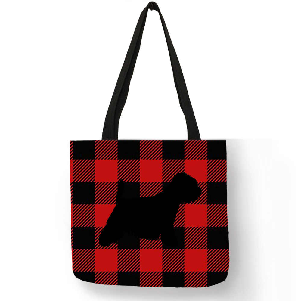 d9a25ea3ebe7 Westie Dog Silhouette Printing Casual Tote Bag For Women Plaid Design Hand  Shoulder Bag Portable Travel Shopping Bags