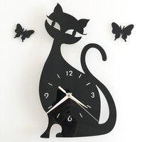 Милый мультфильм кот акриловые черная кошка часы наклейки детская комната настенные часы спальня гостиная ТВ диван декоративные