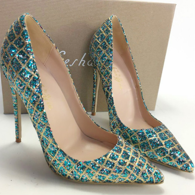 Keshangjia  Hot Sale Thin High Heels Woman Sexy Pointed Toe Pumps Green Crystal Rhinestone Lady Party Dress Shoes Pumps