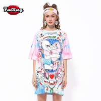 2017 New Women Street Bear Printing T Shirt Short Sleeve Straight Fashion Casual Summer Long Pink