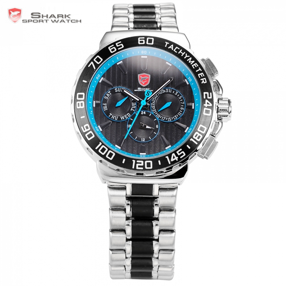 Blacknose Shark Sport Watch Blue Silver Men Watches Top Brand Auto Date Day 6 Hands Steel Band Quartz Military Clock Gift /SH383 shark sport watch brand men auto date
