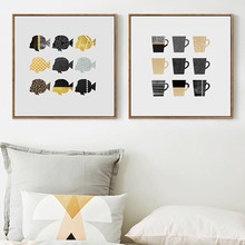 Nordic Style Fashion Poster Geometric Cups Fish Painting Wall Art Abstract Creative Canvas Print Pictures Living Room Home Decor(China)