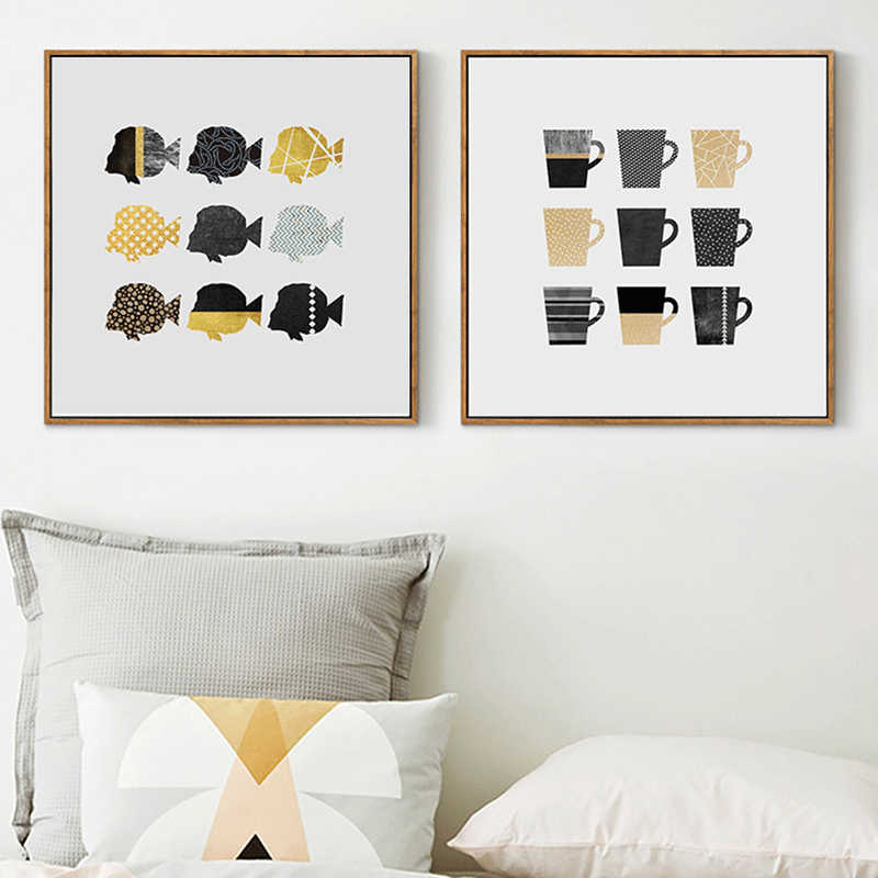 Nordic Style Fashion Poster Geometric Cups Fish Painting Wall Art Abstract Creative Canvas Print Pictures Living Room Home Decor