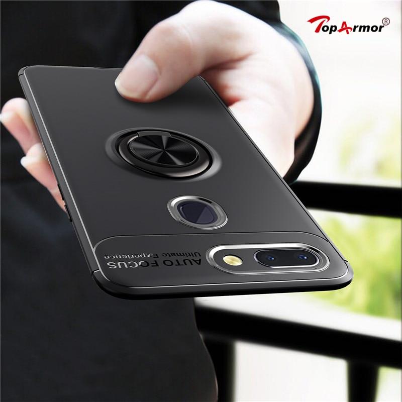 For Oppo R15 Case Magnetic Car Holder Case For Oppo R9 R9S R11 R11s Plus Cover 360 Rotating Finger Ring Shockproof Phone Case