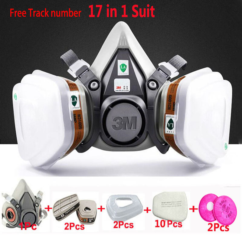 17 in 1 Suit Painting Spraying Gas Mask Same For 3 M 6200 Half Face Gas Mask Respirator 7 in 1 suit half face gas mask respirator painting spraying for 3 m 6200 n95 pm2 5 gas mask