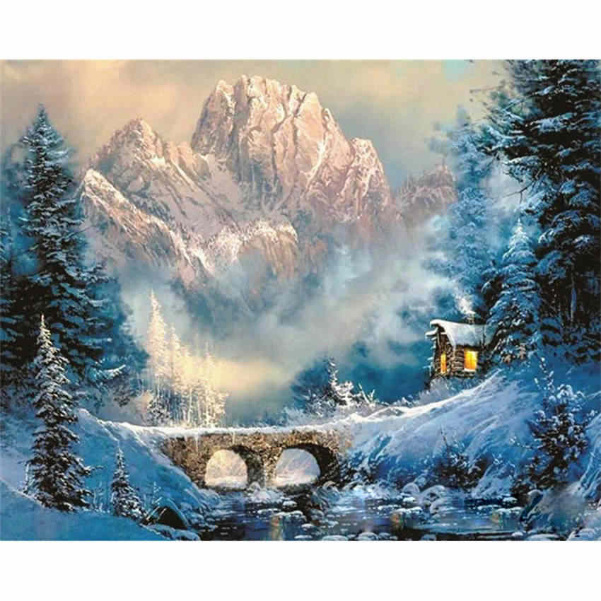 WONZOM Snow Cabin Oil Painting By Numbers Acrylic Paint Wall Painting Scenery Picture Coloring By Numbers On Canvas Home Decor