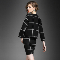 HIGH QUALITY Plaid Knit Sweater+Package Hip Skirt 2 Piece Set casual New 2 Piece Set Suit Skirts Winter Pullover Sweater woman