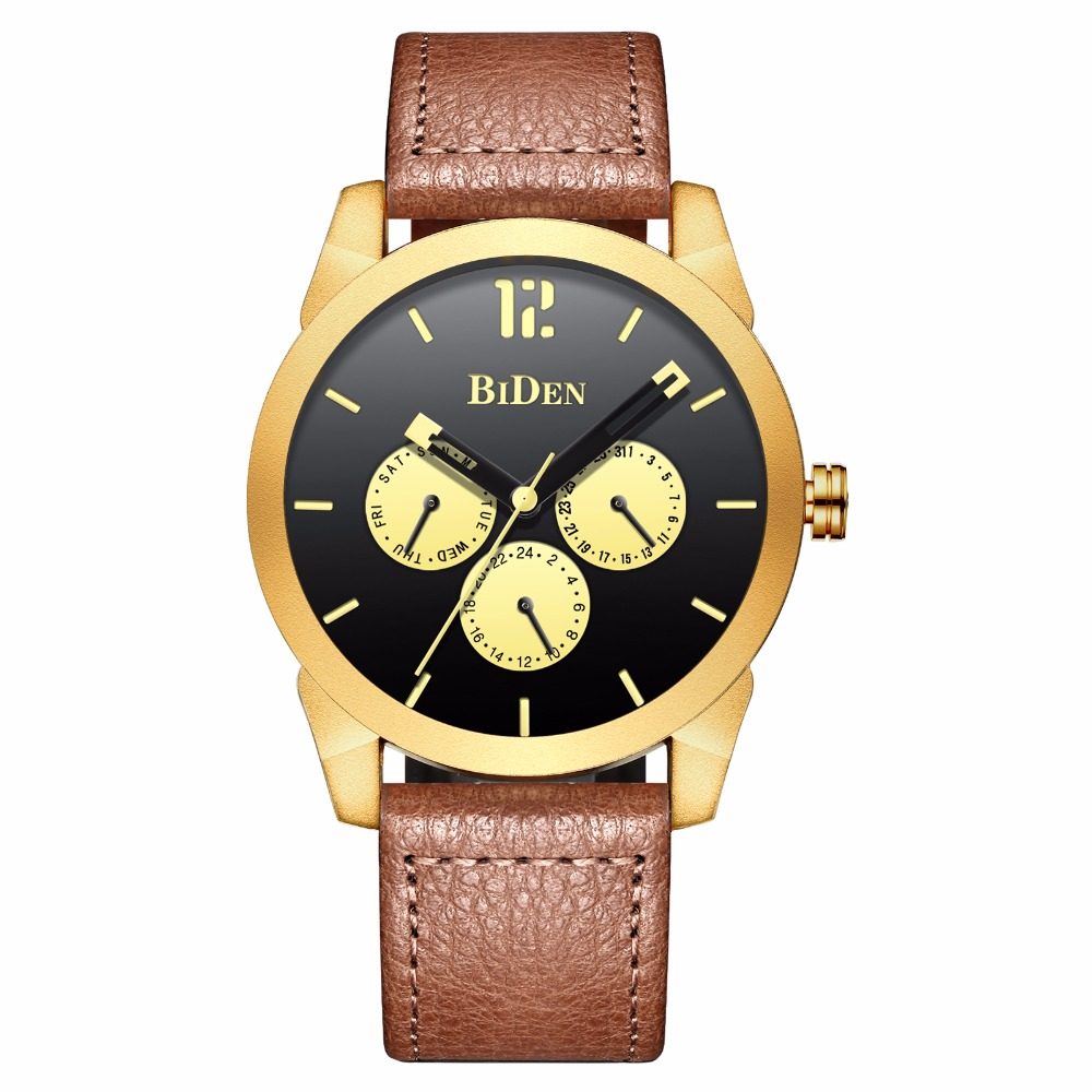 New Fashion Brand Men Watch Quartz Casual Creative Clock Gold Leather Sport Male boys Wrist Watches Waterproof Relogio Masculino new clock gold fashion men watch full gold stainless steel quartz watches wrist watch wholesale kezzi gold watch men k1174