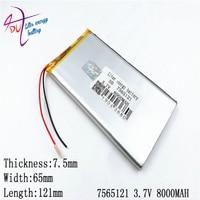 3.7v 7800mah 7565120 7565121 리튬 폴리머 리튬 포 충전식 배터리 패드 gps dvd 전원 은행 태블릿 pc