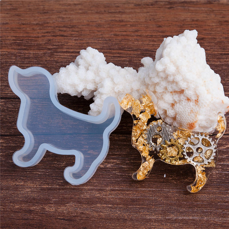 DoreenBeads New Hot Silicone DIY Tools Resin Mold Dog Animal White 47mm(1 7/8