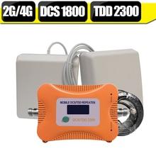 Indien LCD Display 2G DCS 4G LTE 1800 LTE TDD 2300 mhz Dual-Band-Handy Signal Booster Verstärker 4G Zellulären Repeater Antenne Set