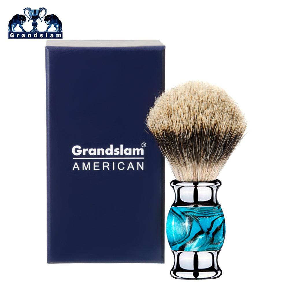 Grandslam Finest Badger Hair Shaving Brush With Blue Resin Handle, Professional Barber Face Cleaning Razor Shaving Brush Tool