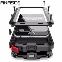 Doom AKASO Luxo Armadura Heavy Duty Caso Capa À Prova de Choque Caixa De Metal para Samsung S5 S6 S7 S8 S6 borda S8plus Nota 8 caso