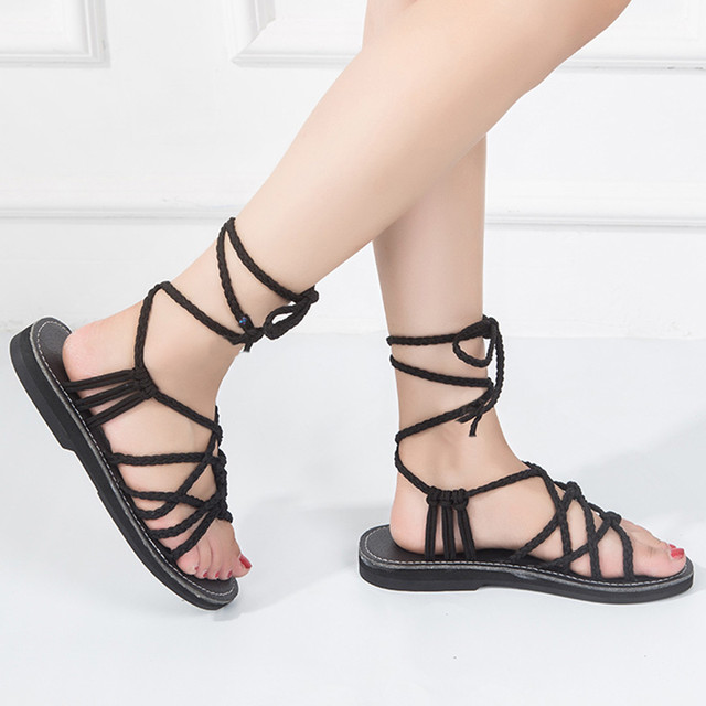 d1d72f4959f30 Cross Strap Roman Sandal High Quality summer Gladiator sandals Strappy Clip  Toe thong Flat Heel flip flops Shoes