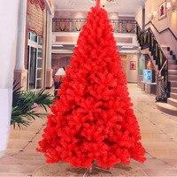 2 4 M 240CM Luxury Encryption Red Christmas Tree Heavy Pine Artificial PVC Ximas Christmas Trees