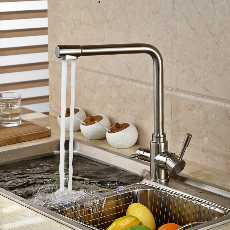 Deck Mount Single Handle Dual Spout Pure Water Faucet Brushed Nickel Kitchen Sink Faucet Taps
