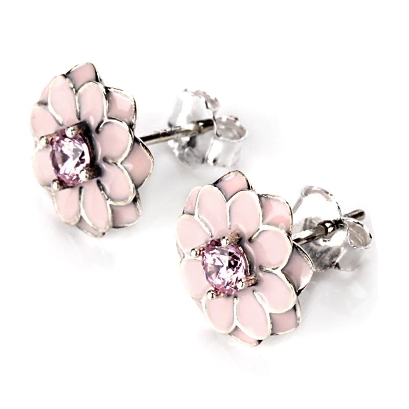 CUTEECO Hot Sale Daisy Flower Stud Earrings Pink White Color Enamel Fits Brand Earrings for Women Fashion Jewelry Gifts in Stud Earrings from Jewelry Accessories