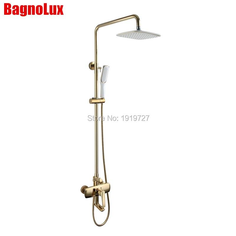 Bathroom Shower Set Faucet Shower Mixer Rainfall Golden Brass Shower System With Pressure Air Hand Shower