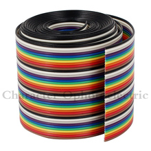 1M 3.3ft 40 Way 40 pin Flat Color Rainbow Ribbon IDC Cable Wire Rainbow Cable 5 pcs 20cm idc 6 pin hard drive extension wire flat ribbon cable for motherboard