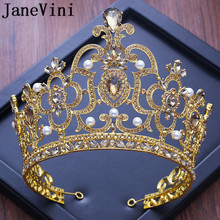 JaneVini Vintage Baroque Wedding Crown Royal Rhinestone Crystal Gold Bridal Tiara Queen Bride Crowns Pageant Pearls Headbands
