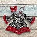 V-day девушки детские детская одежда хлопок Осень-Зима красный черный оборками дамаск dress бутик flare рукавом соответствия лук и ожерелье