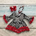 V-day girls baby kids clothes cotton Fall Winter red black ruffles damask dress boutique flare sleeve matching bow and necklace
