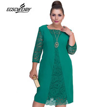 Big Size Elegant Long sleeves Patchwork Lace Dress L-6XL 2019 Spring Dr