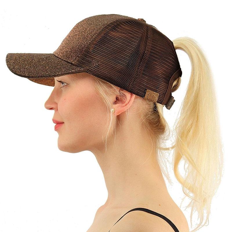 e92ed58d223 2018 Summer CC Glitter Ponytail Baseball Cap Dad Hats for Women Hip Hop  Caps Messy Bun Cotton Sports Mesh Trucker Hat