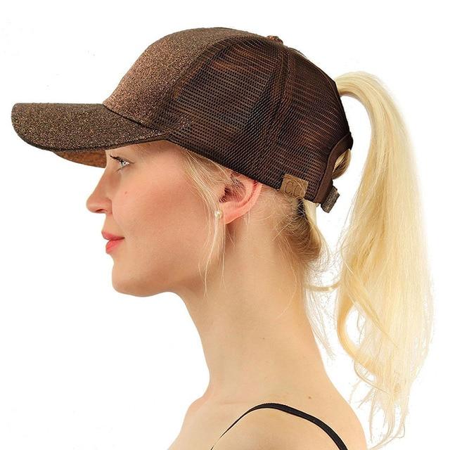 2018 Summer CC Glitter Ponytail Baseball Snapback Cap Dad Hats for Women Hip Hop Caps Messy Bun Cotton Sports Mesh Trucker Hat