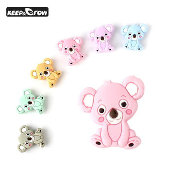 100pcs 28mm Silicone Beads Koala Rodents Mini Baby Teether Cute Food Grade Silicone Pearls Pacifier Pendant Baby Teether Product