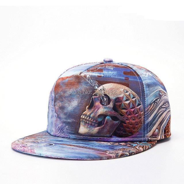 Bonés de beisebol impressão crânio homens / mulheres 3D Hiphop chapéus casuais chapéu dança viseiras Snapback chapéu de sol wholsale HT144