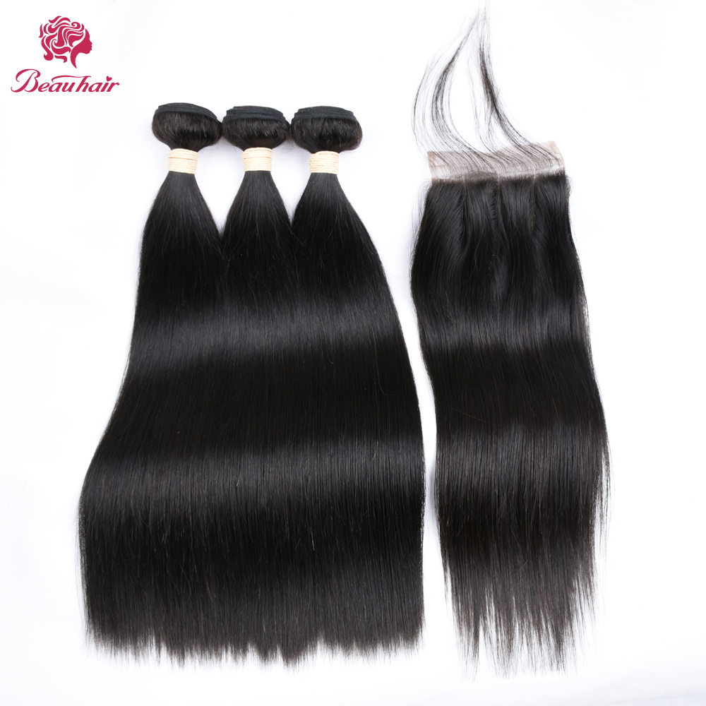 Beau Hair 8A 1B Pre-Colored Human Hair 3 Bundles With Closure 4x4 Lace Closure Peruvian Hair With Closure Non-Remy Bundle Pack
