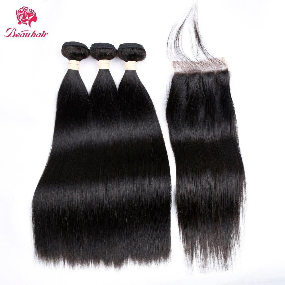 Beau Hair 8A 1B Förfärgat Människahår 3 Bundlar Med Stängning - Skönhet och hälsa - Foto 1